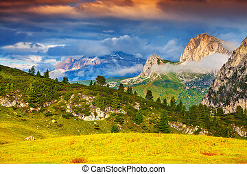 Beautiful summer landscape of the Italian Alps, Dolomites,...