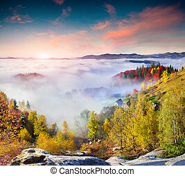 Colorful autumn sunrise in the Carpathian mountains Sokilsky...