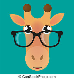 Giraffe avatar wearing glasses - Illustration of a cartoon...