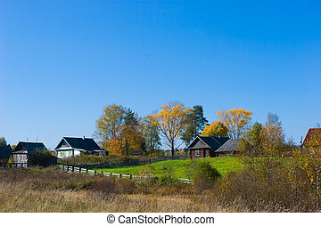 Rural scene - Autumn rural scene with country houses