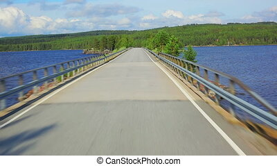 Road in Finland. - Road travel in Finland.