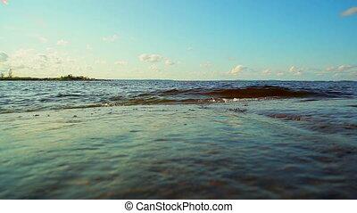 Waves on lake.