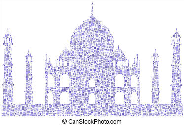 Taj Mahal - mesh of little squares - Decorative mosaic of...