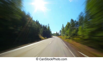 Road travel in Finland. Fast motion