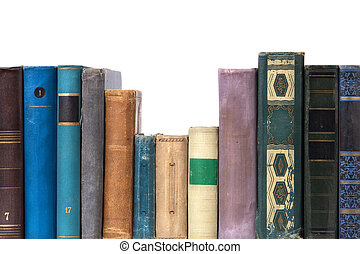 books - isolated on white background, focus point on nearest...
