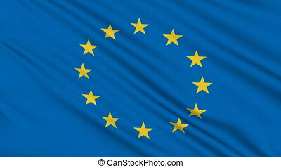 Europe flag, with real structure of a fabric