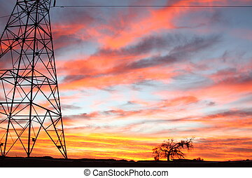 Power lines Skies - ower lines sunset desert skies