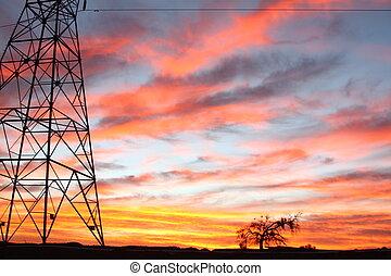 Power lines Skies - ower lines sunset desert skies