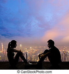 Young couple face to face - Silhouette of young couple face...