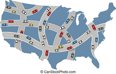 Cars travel USA highway transportation map - Many cars drive...