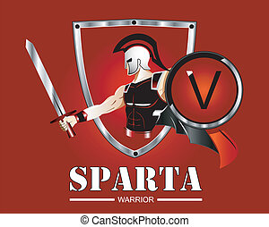 Greek Spartan Warrior or Trojan Soldier holding shield and...