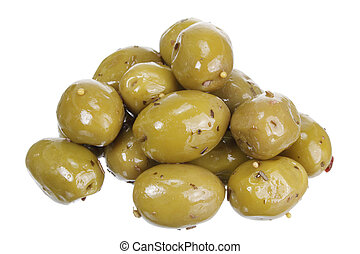 Marinated Olives on White Background