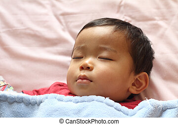 Sleeping boy Japanese 1 year old