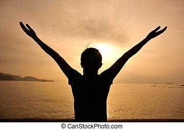 mulher, abertos, braços, amanhecer, sob