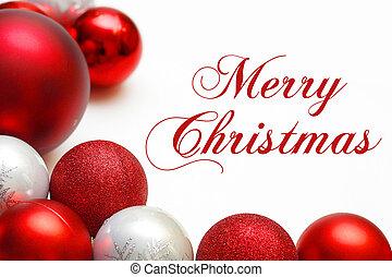 grupo, Ornamentos, texto, árbol, encuadrado, alegre, navidad