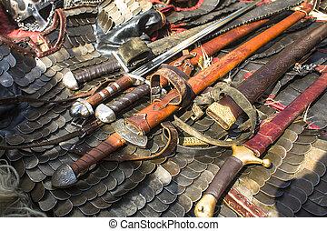 medieval, armadura, espadas, Chainmail, Ao ar livre