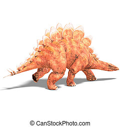 Dinosaur Stegosaurus 3D render with clipping path and shadow...