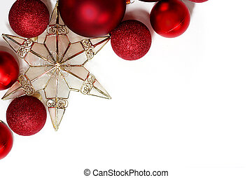 Christmas Decorations Border - Red sparkly Christmas Bulb...