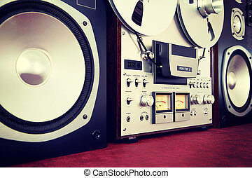 Analog Stereo Open Reel Tape Deck Recorder Vintage with...