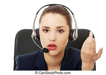 Anoyed support phone operator - Portrait of anoyed support...