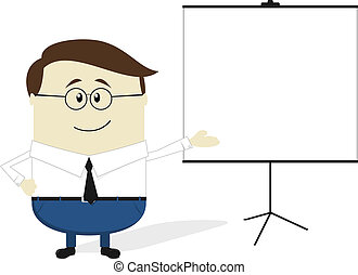 businessman with blank flip chart - businessman cartoon with...