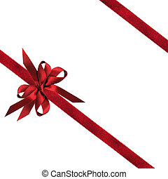 Dark Red Ribbon and Bows - Red ribbon and bows over white...