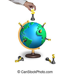 hand holding chess with 3d map terrestrial globe