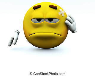 I Hurt Myself - Concept image of a cartoon face that has...