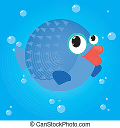 blowfish - abstract cute water animal on a special...