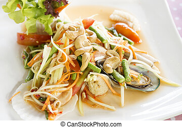 Seafood som tum green papaya salad Thai food