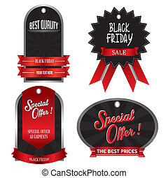 Black Friday - abstract black friday labels on a white...