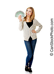 Woman with polish money