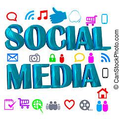 Shiny digital social media words