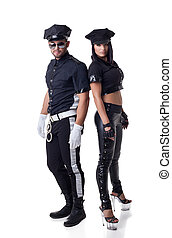 Sexy police officers, isolated on white background