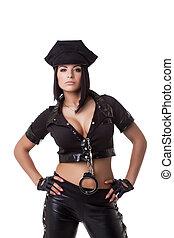retrato, serio, busty, mujer policía