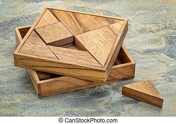 tangram, -, Chinês, Quebra-cabeça, Jogo