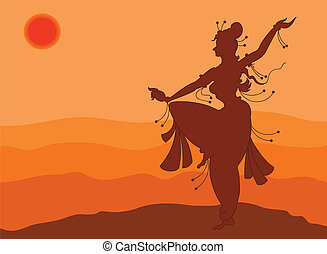 Shadow Art Dancer Doing Surya Namaskar Vector Art