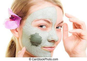 pele, cuidado, mulher, argila, Lama, máscara, rosto,...