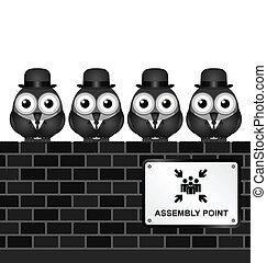 Assembly Point - Monochrome comical assembly point sign on...