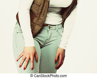 Part of body, female hips. Sexy plus size woman in jeans. -...