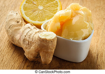 ginger root, honey and lemon on wooden rustic table. - Time...