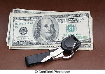 car key with dollars
