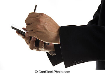 Hands of Businessman with stylus touching the screen of...