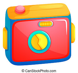 A beach camera - Illustration of a beach camera on a white...
