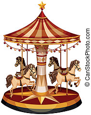 A merry-go-round with brown horses - Illustration of a...