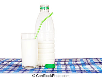 Bottle and glass of milk, on check tablecloth. Green -...
