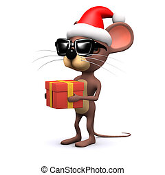 3d Cute mouse is generous at Christmas time - 3d render of a...