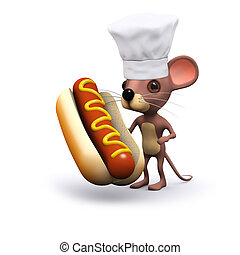 3d Cute mouse with a hot dog - 3d render of a cute mouse...