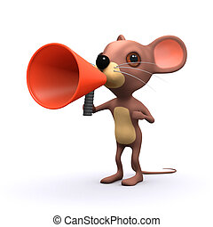 3d Cute mouse with a megaphone - 3d render of a cute mouse...