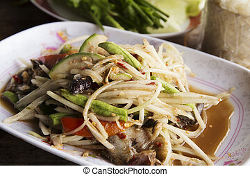 Papaya salad or Som tum with Thai style Ferment fish